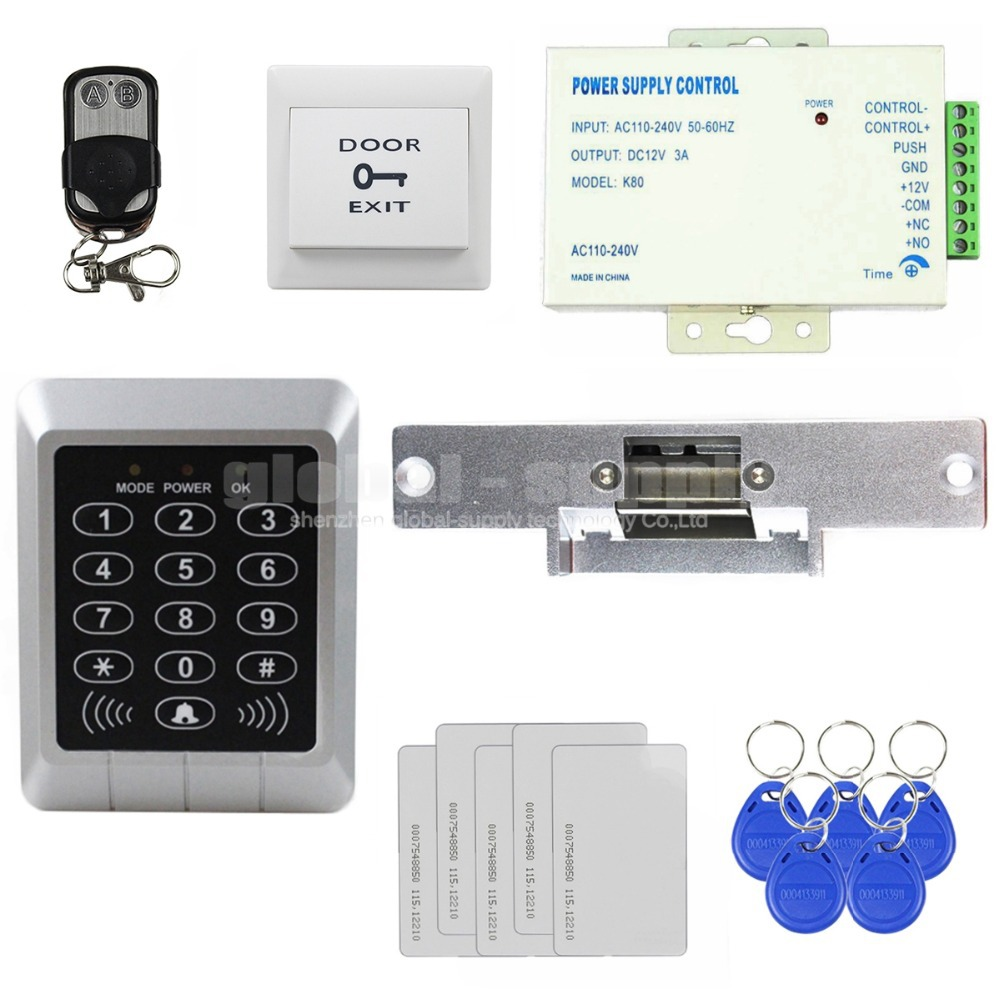 ФОТО DIYSECUR Full Complete Kit 125KHz Rfid Password Keypad Card Door Access Control Kit + Strike Lock For Office / Home Improvement
