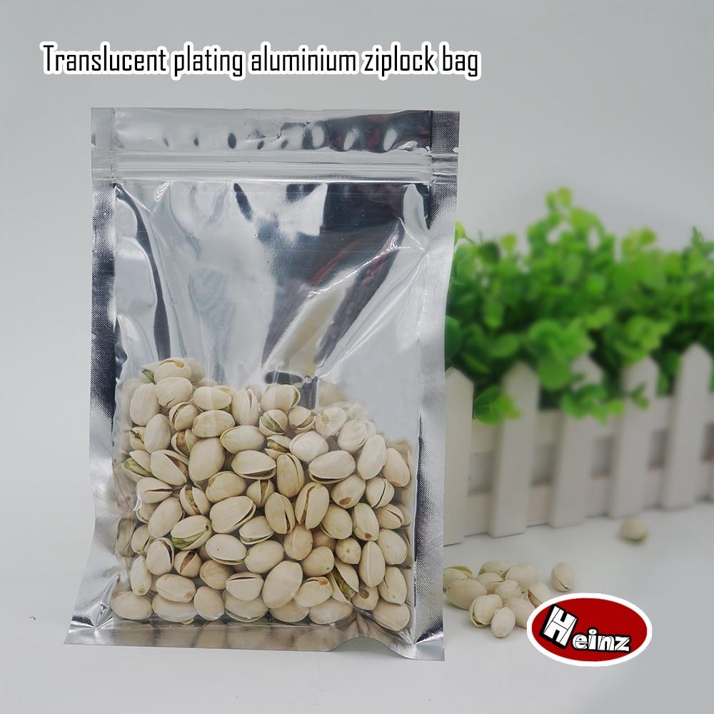 22*32cm, Translucent plating aluminium ziplock bags - Zipper reusable silvery aluminum foil plastic pouch . Spot 100/ package