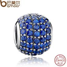 Luxury 925 Sterling Silver Pave Light Blue Crystal Ball Charm Fit Original Bracelet With Clear Cubic Zirconia PAS071