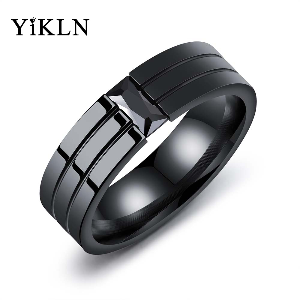 YiKLN Personality Titanium Steel Mens Ring Black Gun Plated Cubic Zirconia Tide Male Ring Jewelry Anillo Masculino OGJ563