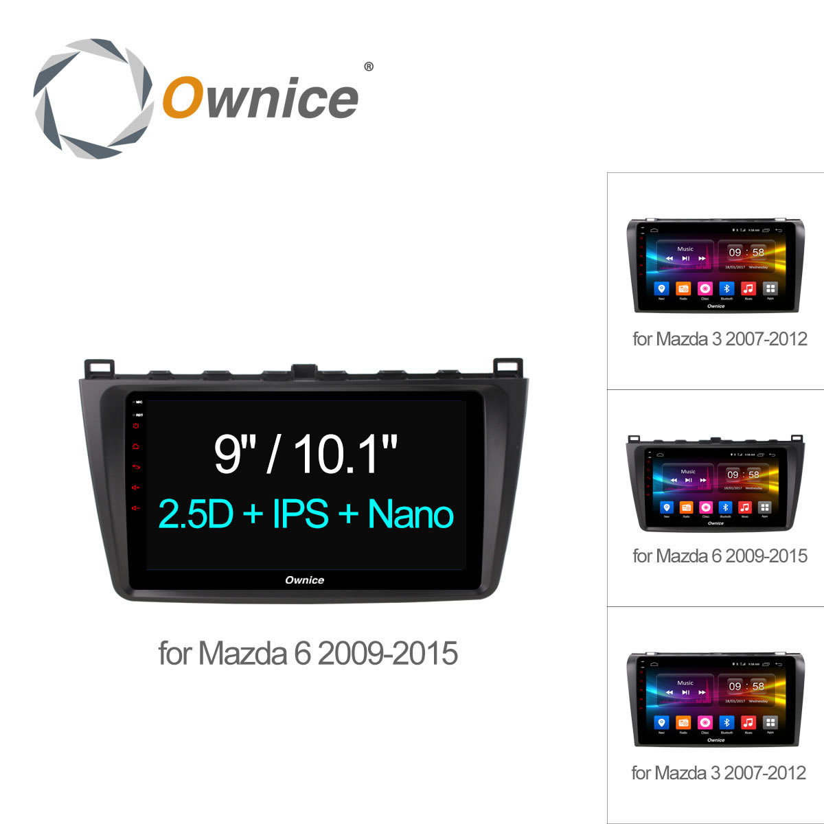 9 Ownice C500 + Android 6.0 Voiture lecteur DVD GPS Pour Mazda 3 Mazda 6 Autoradio Multimédia Octa base 4G LTE 2 GB + 32 GB DAB + Radio RDS