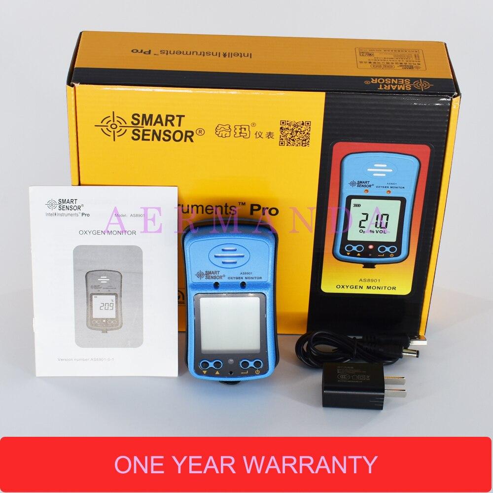 Monitor tlenu AS8901 Inteligentny czujnik Detektor gazu O2 0-30% VOL Dźwiękowy alarm świetlny