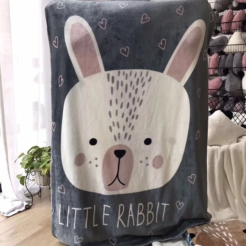 Cartoon Animals Rabbit Bear Dog Fox Pattern Multi-function Blanket Baby Play Mats Nordic Kids Room Sofa Decoration Photo Props