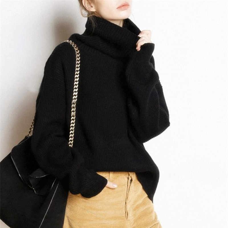 Lhzsyy 여성 새로운 순수 캐시미어 스웨터 가을 높은 칼라 품질 대형 두꺼운 풀오버 겨울 따뜻한 여성 부드러운 야생 스웨터