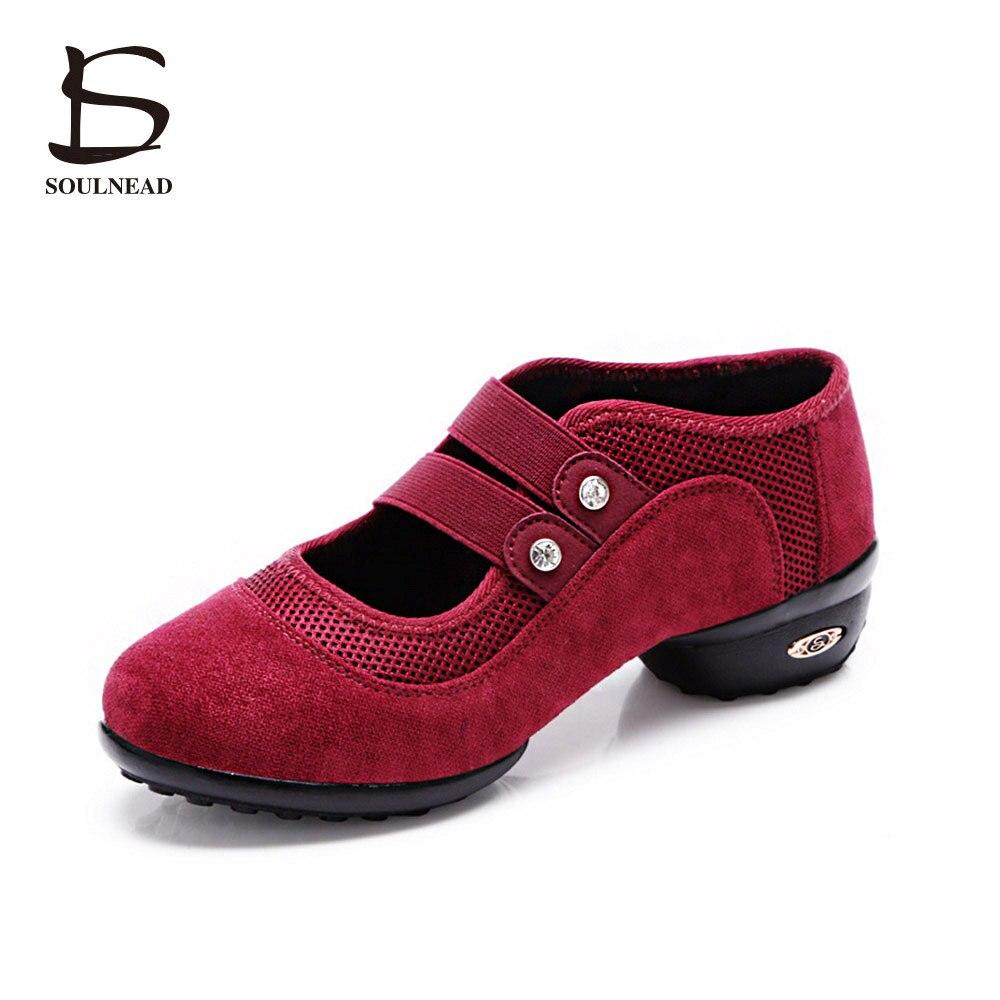 women square sneakers dance shoes jazz hip hop double belt shoes salsa woman platform dancing ladies shoes red black green color