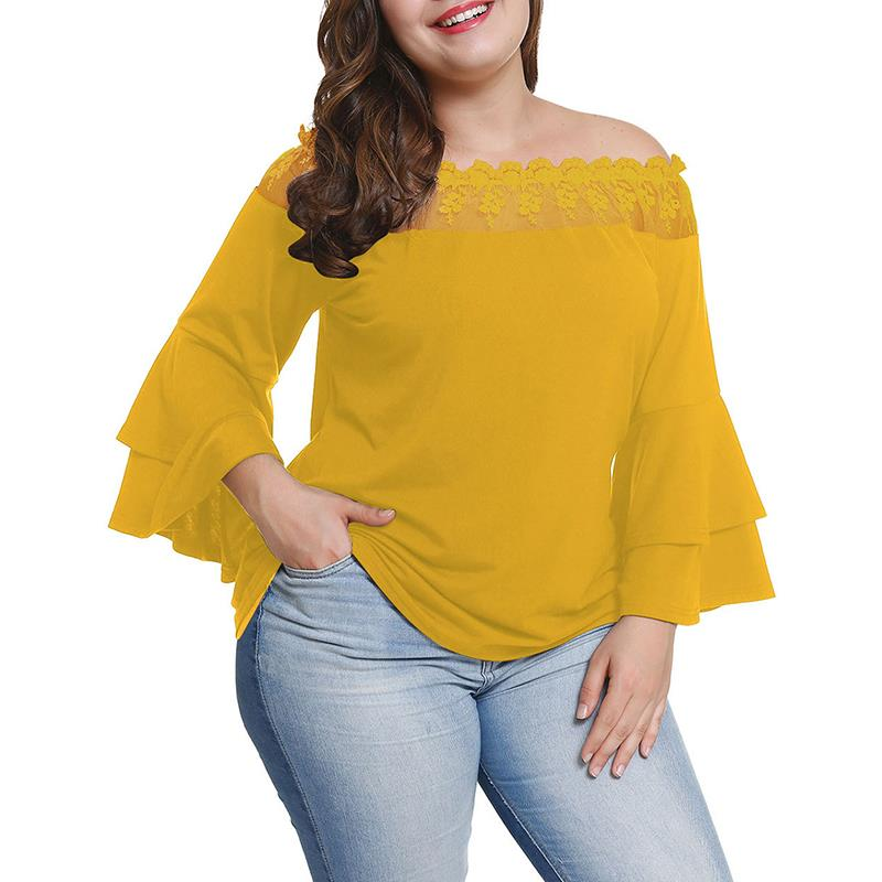 2018 Summer Off Shoulder Ruffle Sleeve Solid Blusas Plus Size XL-4XL   Blouse     Shirt   Women Elegant Top WS9316X