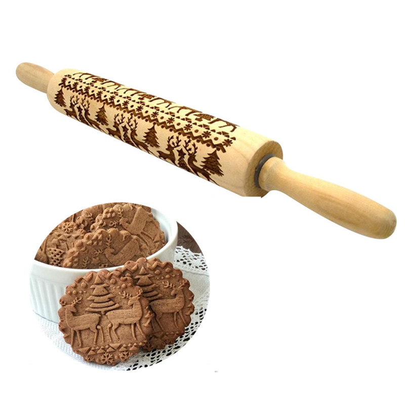 35 cm 43 cm Embossing Pino do rolo De Madeira Natal Biscoitos do Cozimento do Biscoito Fondant Bolo Massa Gravado Rolo Da Rena Do Floco De Neve