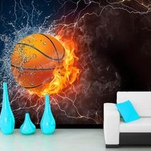 Papel de pared Basketball Water Fire Ball Sport 3d wallpapers,living room sofa TV wall