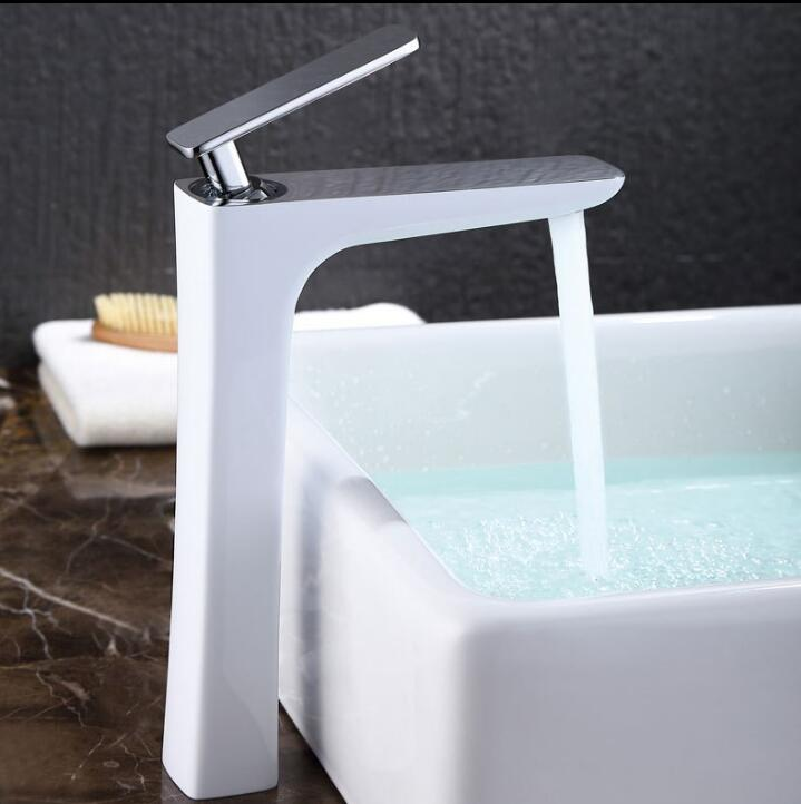 Free Shipping  brass single lever hot and cold chrome and white tall bathroom basin faucet bathroom sink faucet bathroom faucet