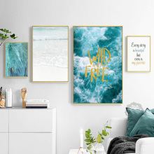 Nordic Wall Decor Painting For Room Canvas Print Poster Blue Feather Sea Scenery Nature Wall Pictures For Home Modern Decoration 900d nordic feather canvas art print painting poster flower wall pictures for home decoration wall decor nor37