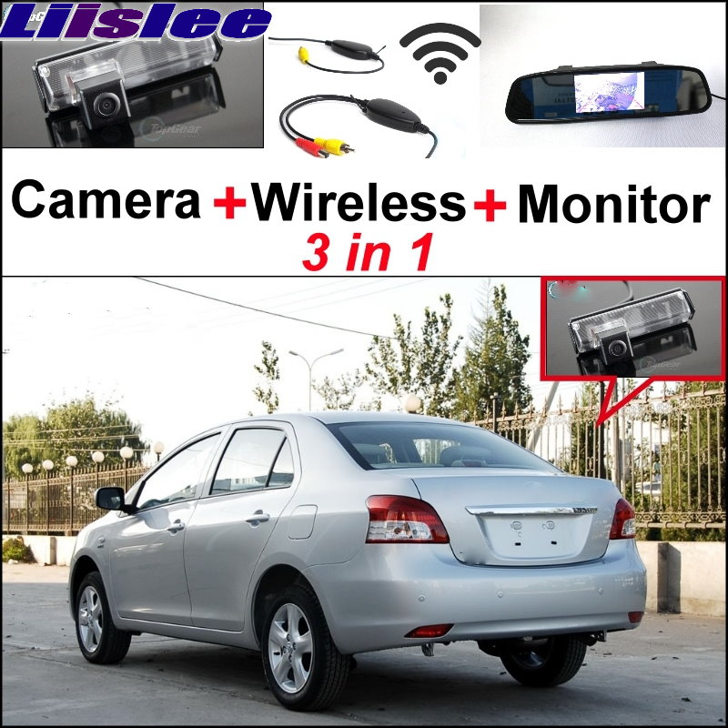 Liielss 3in1 Special Camera Wireless Receiver Mirror Monitor Parking System For TOYOTA Belta Vios Yaris Sedan XP90 MK2 2007~2013 wireless pager system 433 92mhz wireless restaurant table buzzer with monitor and watch receiver 3 display 42 call button