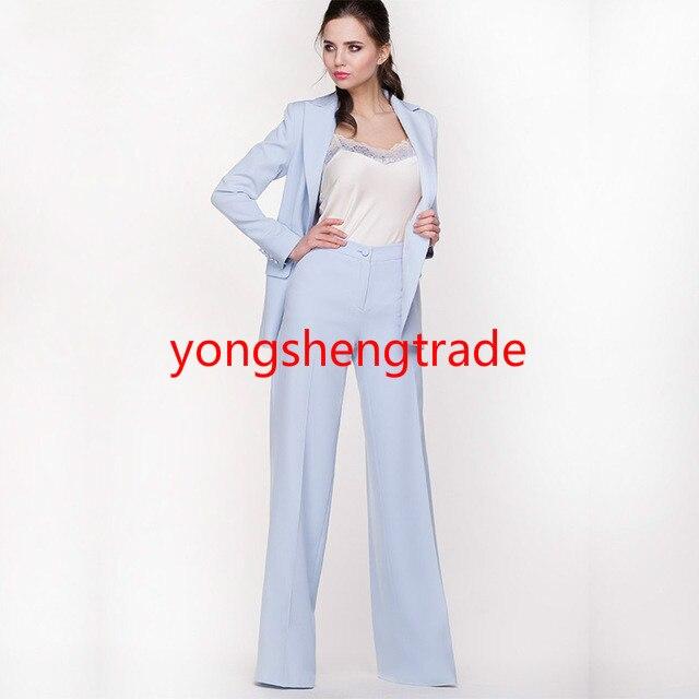 Pièce Jacekt Travail Ciel Mesure Pantalons 2 Costumes Femmes Pantalon Bureau Bleu Sur Mince Styles D'affaires 116 Costume Formelle Uniforme 7rqrPXw