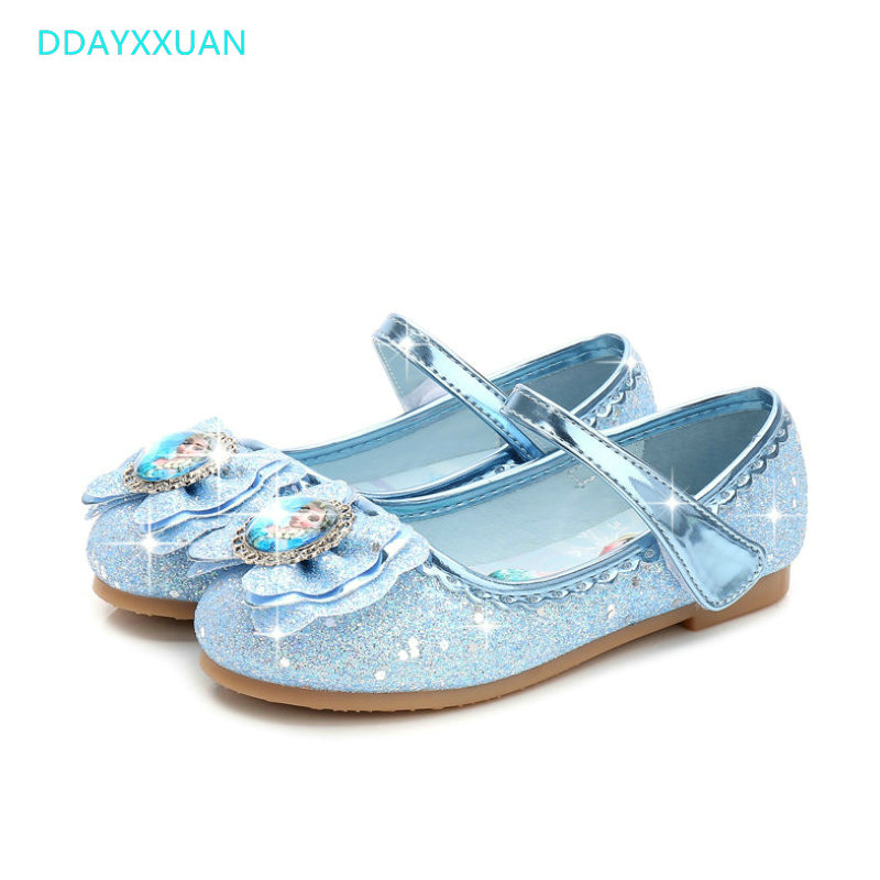 Children Princess Shoes For Kids Girls Sandals New Fashion Spring Cute Elsa Sandals Chaussure Enfants Flat Party Elsa Shoes