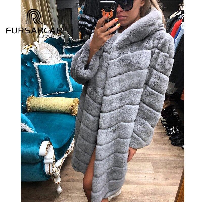 Chaud Capuchon Manteau Hiver Lapin Épaisse Long Cm Rex Mode Fursarcar Nouveau Fourrure Veste Femmes Réel Avec 100 De qwx14RT