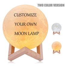 3D printing moon night light Novelty lamp DC5V USB Recharged indoor Romantic decoration yellow and White Customize 8CM 10CM 15CM