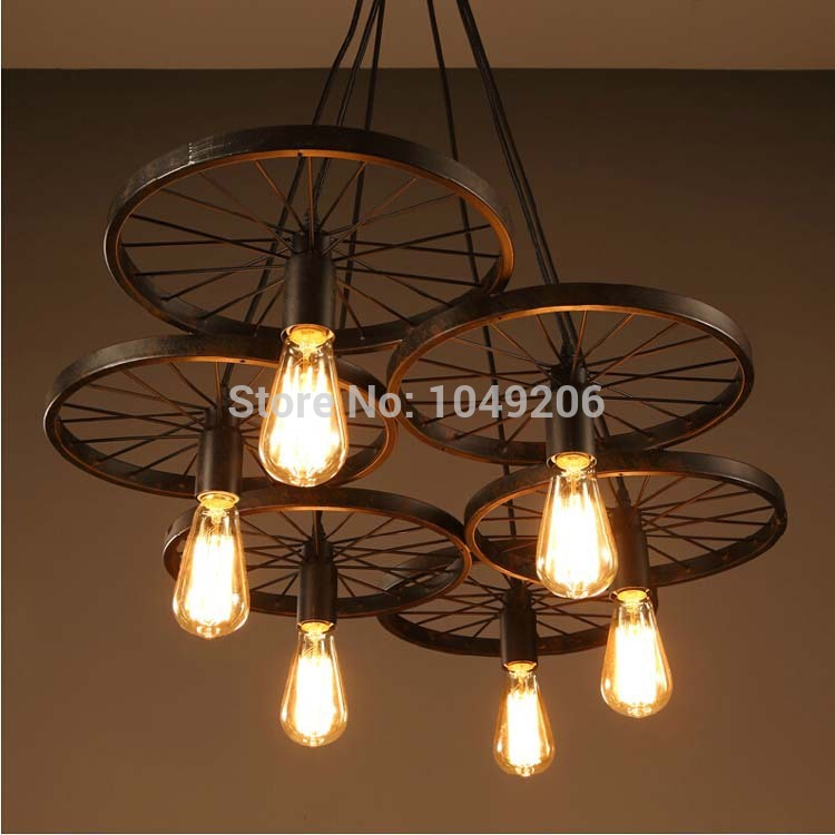 loft black antique wrought iron chandelier lighting e27 110v 220v