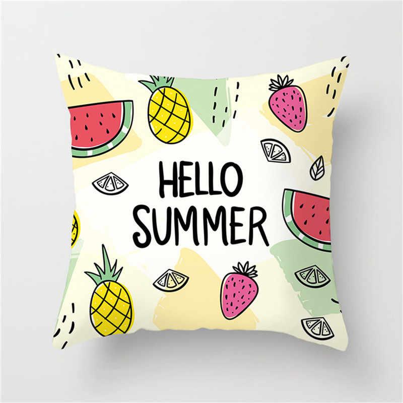 غطاء وسادة على شكل فاكهة استوائية من Fuwatacchi غطاء وسادة على شكل البطيخ والأناناس مرسوم عليه طائر الفلامنغو ديكور أريكة منزلية غطاء وسادة صيفي