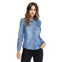 Denim Shirt Female Long Sleeve Shirt Women Denim Blouse Classic Shirt Jeans Cotton Slim Tops Femme