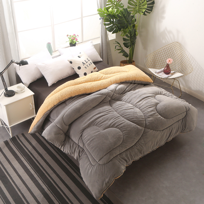 Lamb Cashmere And Velvet Fabric Warm Winter Wool Quilt Thicken Comforter Duvet Blanket King Queen Size Single Double Cashmere Fi