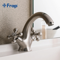 Frap Brass Body Nickel Brushed Bathroom basin faucets Two handles Retro color F1019 5