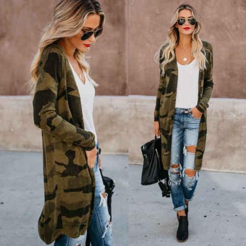 النساء فضفاض طويل كم سترة ليوبارد CamouflageShawl قمم معطف سترة