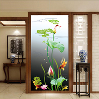 Custom Size Window Films PVC self adhesive or static cling decorative frosted privacy Sticker Lotus flower
