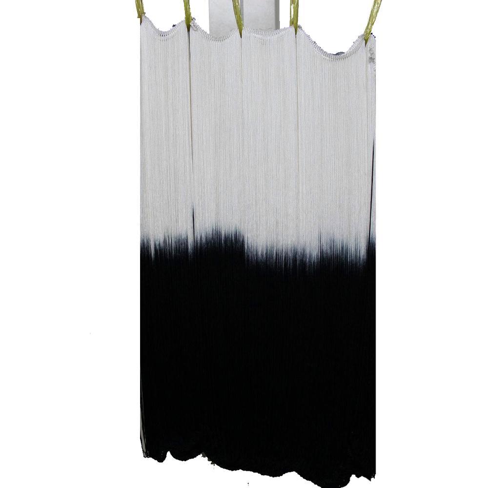 Long Fringe Tassel Latin Dress Trims Dip Dye Ombre Rayon Tassel Trimming Diy Lace Off White/Black Latin Macrame Trims 60CM Long