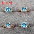 Стерлингового серебра 925 пробы с женский квадратный камень топаз кольцо 7 х 7 мм мода цвет