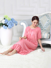 New Summer Nightdress Women Robe Cotton Solid Loose Elastic Collar Nightgown Cute Sweet Lady Princess Female