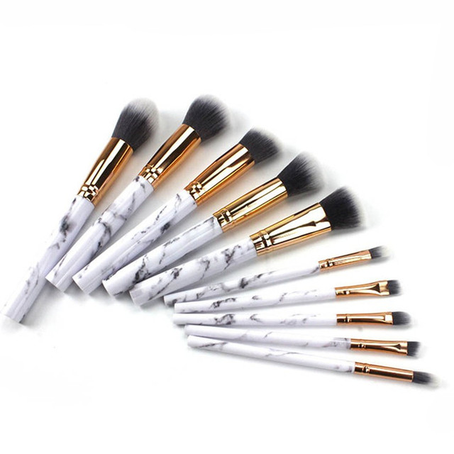 10Pcs/Set Pro Marbling Makeup Brushes Kit Marble Pattern Cylinder PU Brush Bag Power Beauty Make Up Brush Cosmetic Tools 4