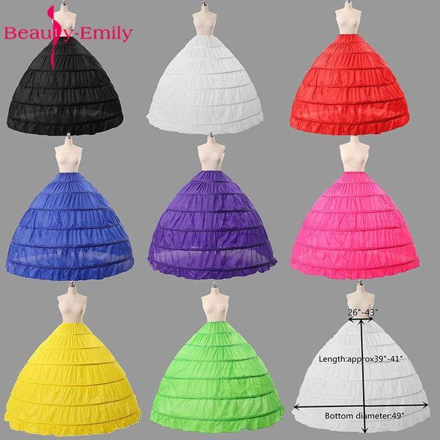 Colorful Black/White/Green  Wedding Petticoats for Dress Ball Gowns Crinoline underskirt saiote de noiva 6 Hoops Jupon