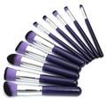New 10Pcs Makeup Brushes Set Purple Eyeshadow Powder Blush Foundation Concealer Blending Brush Kit Beauty Cosmetic Tools