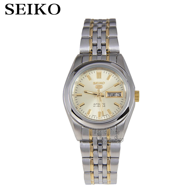 лучшая цена SEIKO Watch shield 5 simple gold metal strap automatic mechanical watch female watch SYMA37K1