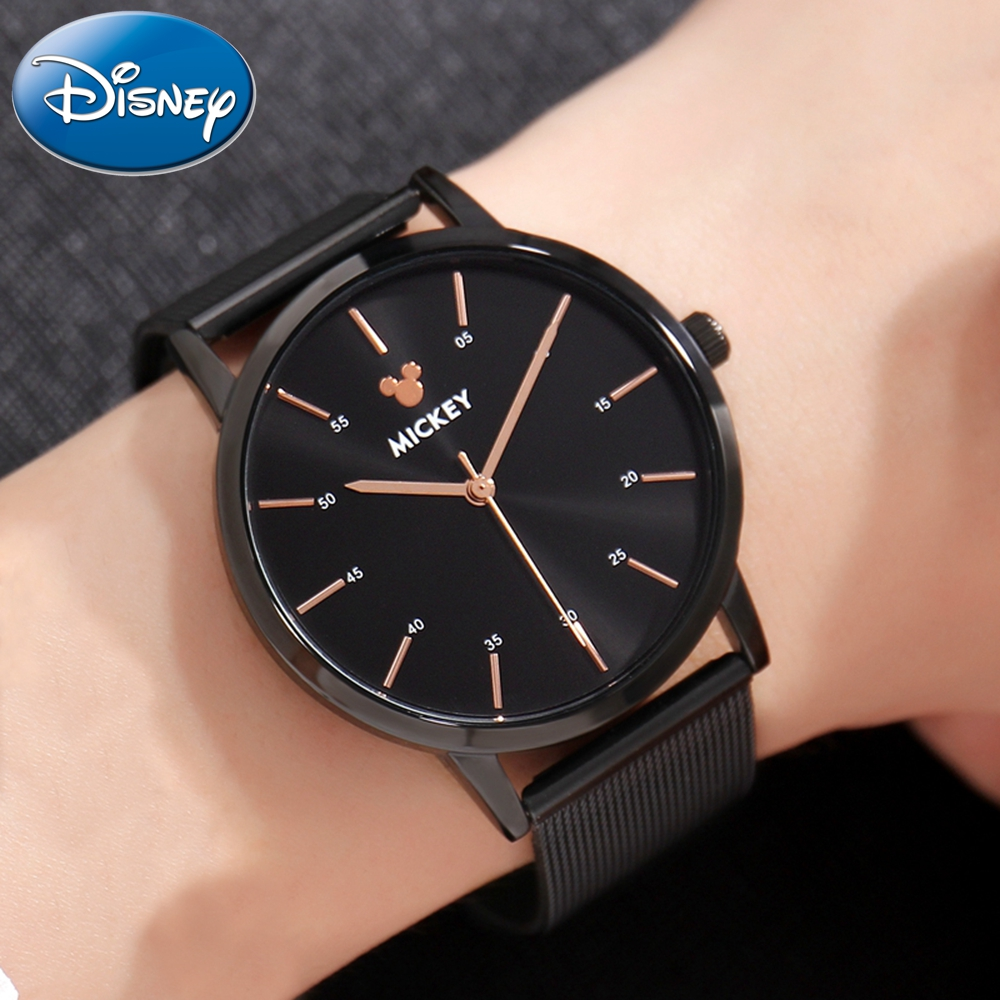 Men's Best Quality Famous Brand Disney Homme Original Quality Mickey Mouse Stainless Steel Mesh Leather strap Watch Good Time harsle brand good quality roller shear knives cut electrical steel coils into laminates