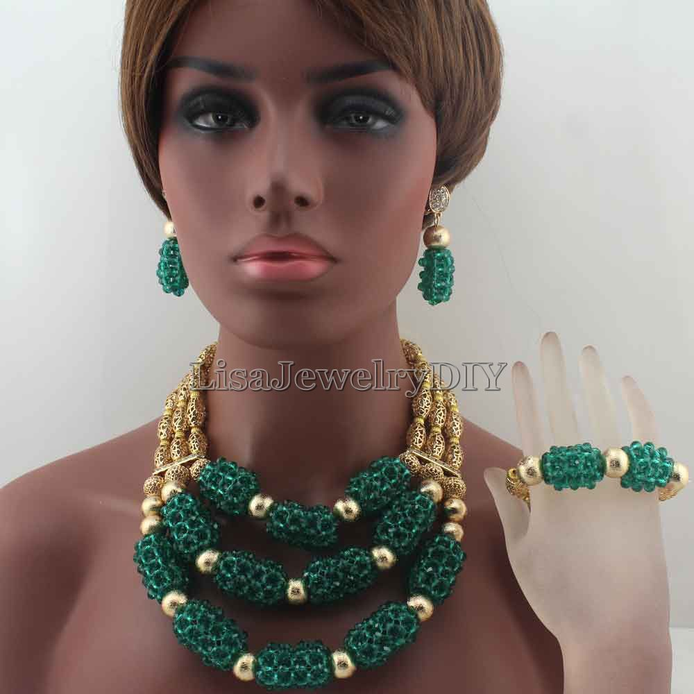 Luxury Teal Green Nigerian Beads Fashion Jewelry Set Wedding Anniversary Bride Gift Necklace Earrings Set Free Shipping HD8650Luxury Teal Green Nigerian Beads Fashion Jewelry Set Wedding Anniversary Bride Gift Necklace Earrings Set Free Shipping HD8650