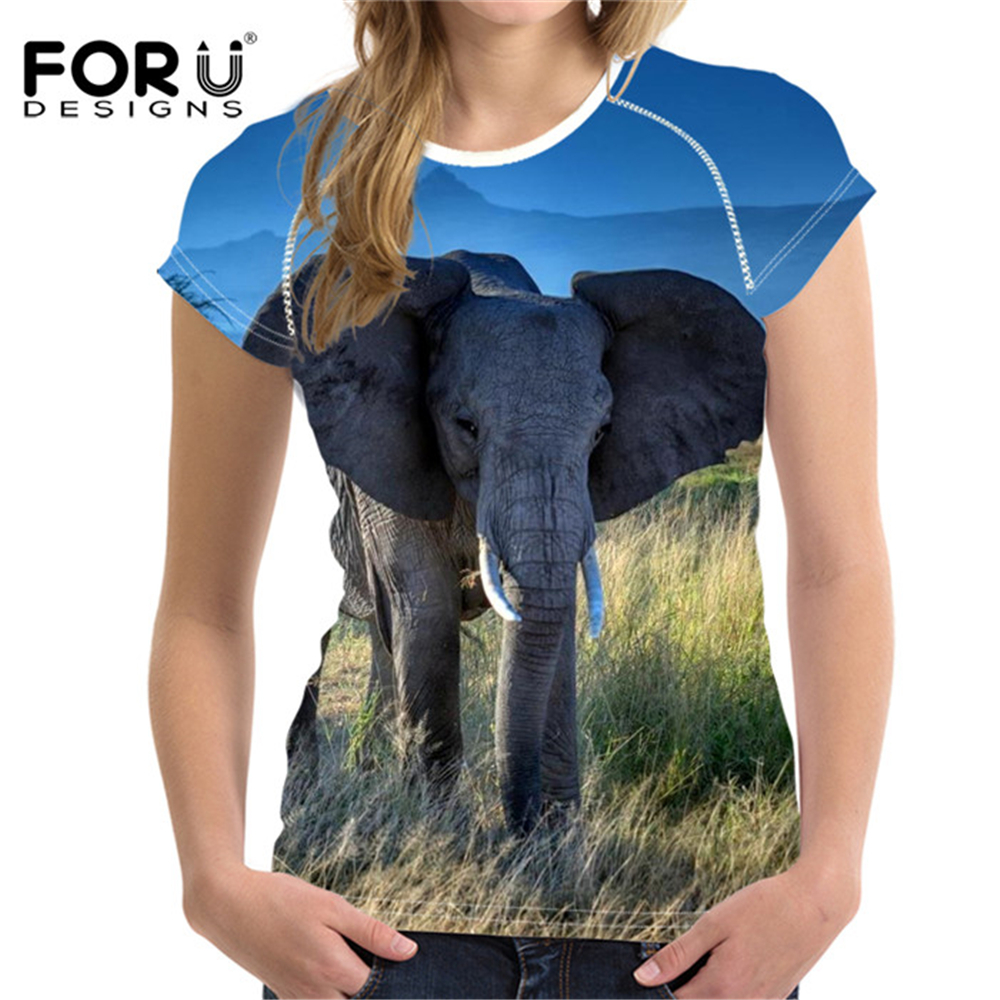 FORUDESIGNS T Shirt Women T-shirt Funny t-shirts 3D Animal Printing Elephant T-Shirt Young Girls Casual 2018 Summer Cool