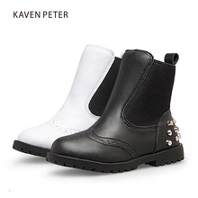 2017 child genuine leather boots girls ankle boots boys winter boots kids leather shoes Black white colors Martin snow shoes