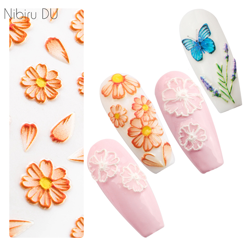 5D Nail Art Sticker 20 Designs Flower Series Butterfly Acrylic Engraved Self Adhesive Stickers DIY Decorations Transfer Nail