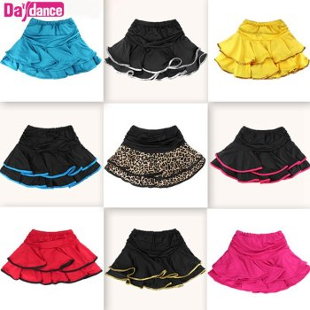 Girls Dance Skirt Latin Salsa Cha Cha Rumba Samba Modern Ballroom Skirts With Shorts 10 Colors 1
