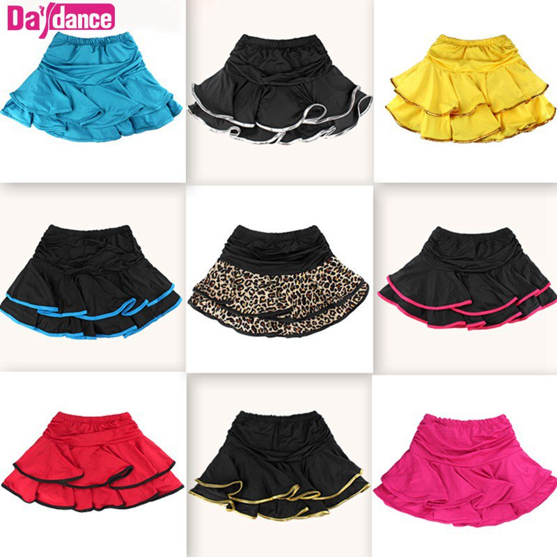 Girls Dance Skirt Latin Salsa Cha Cha Rumba Samba Modern Ballroom Skirts With Shorts 10 Colors