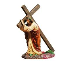 MyLifeUNIT 4.7 Inches Jesus Carrying Cross Religious Statue Figurine Home Church Decorations Christian Gift(China)