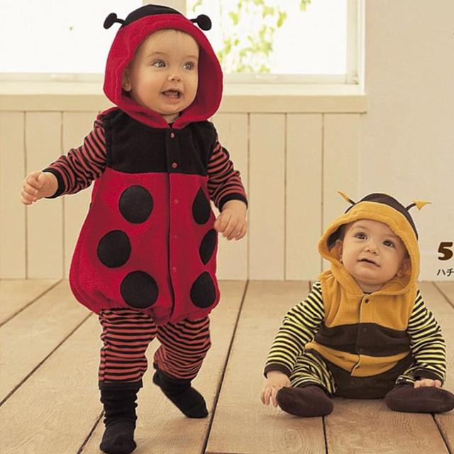 2016 polar Fleece Baby Rompers Ladybug Bee Costumes criança ternos do corpo