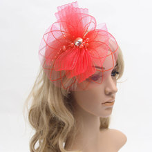 цена на Wedding Fascinator Cocktail Hat For Female Women French Veiling Hair Headband Vintage Lady Party Accessory Hair Accessories
