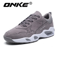Nubuck Leather Mens Running Shoes Air Cushion Outsole Gray Black Men Sneakers Comofrtable Sports Man Shoes