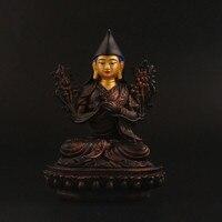 Special Design Tsongkhapa Figurine Statue Three Tailsman Treasured Buddhsit Glass Steel Titetan Supplies Buddha Sculpture