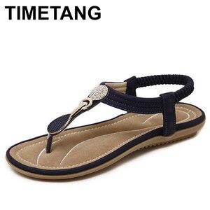 Image 1 - Timetang 夏新ボヘミア女性サンダルラインストーン女性フリップヴィンテージ女性靴ビーチ