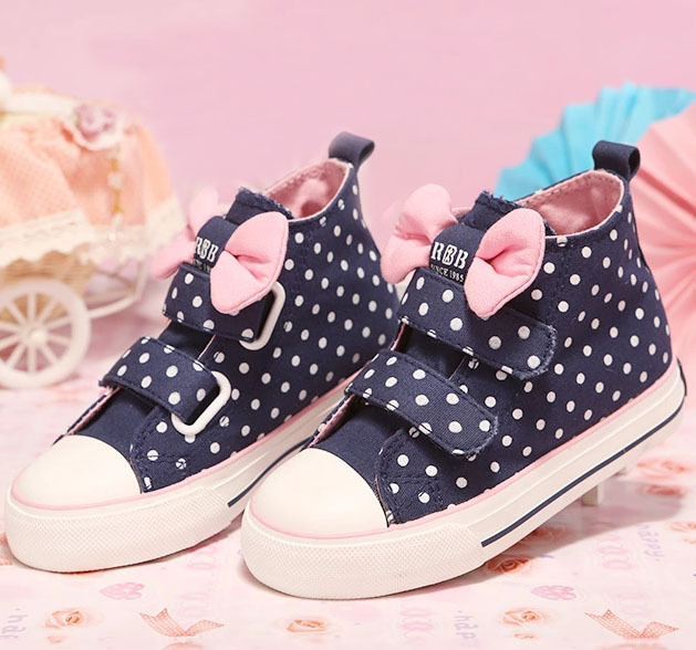 Size 25-30 children shoes girls canvas kids sneakers flats bowknots dots low - KIM store