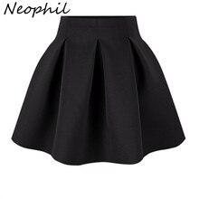 Neophil/ г. Зимнее черно-красное платье с высокой талией размера плюс, плиссированное хлопковое бальное платье, Короткие мини-юбки школьная рабочая одежда для девочек, S0907
