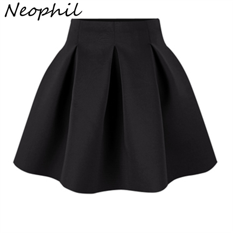 Neophil 2019 Summer Black Red High Waist Plus Size Pleated Space Cotton Ball Gown Short Mini Skirts Girls School Work Wear S0907