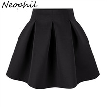 Neophil 2016 Winter Black Red High Waist Plus Size Pleated Space Cotton Ball Gown Short Mini Skirts Girls School Work Wear S0906